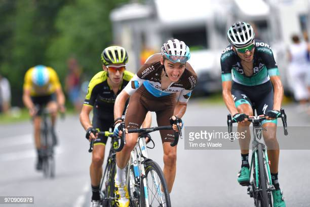 Romain Bardet of France and Team AG2R La Mondiale / Adam Yates of Great Britain and Team MitcheltonScott / Emanuel Buchmann of Germany and Team Bora...