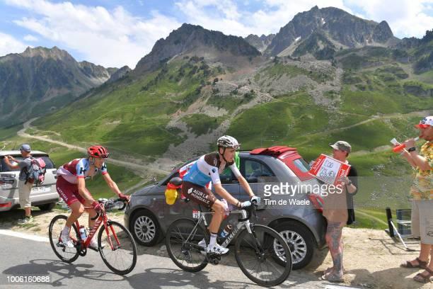 Romain Bardet of France and Team AG2R La Mondiale / Ilnur Zakarin of Russia and Team Katusha / Col Du Tourmalet / Landscape / Fans / Public /...