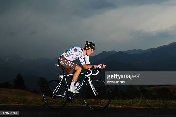 Romain Bardet of France and Team AG2R rides during stage seventeen of the 2013 Tour de France, a 32KM Individual Time Trial from Embrun to Chorges,...