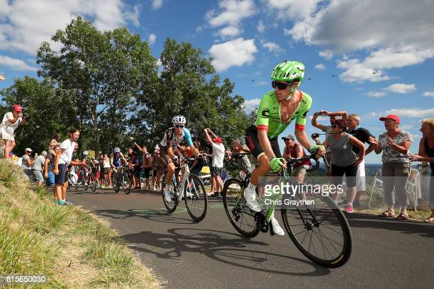Romain Bardet of France riding for AG2R La Mondiale and Rigoberto Uran of Colombia riding for Cannondale Drapac ride in the peloton during stage 15...