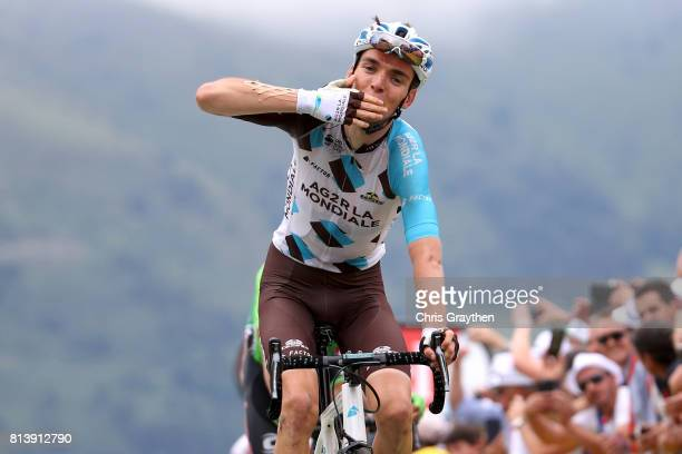 Romain Bardet of France riding for AG2R La Mondiale celebrates as he wins stage 12 of the 2017 Le Tour de France, a 214.5km stage from Pau to...