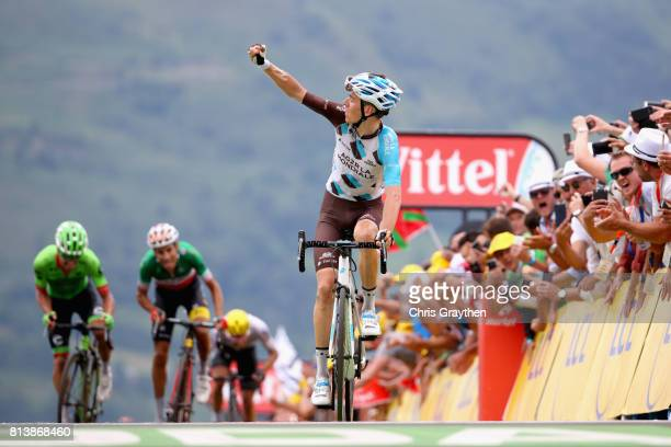 Romain Bardet of France riding for AG2R La Mondiale celebrates crossing the line during stage 12 of the Le Tour de France 2017, a 214.5km stage from...
