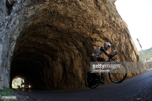 Romain Bardet of France riding for AG2R La Mondiale rides during the stage thirteen individual time trial a 375km stage from BourgSaintAndéol to La...