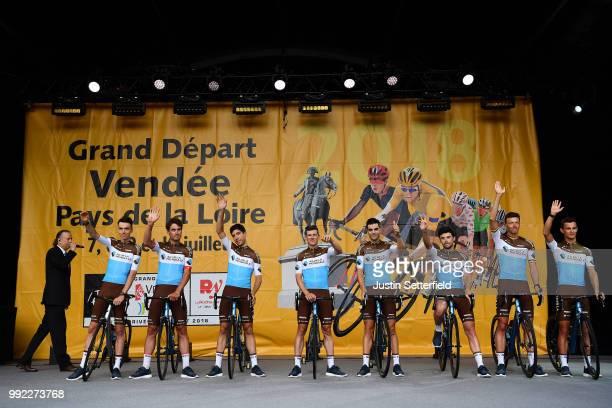 Romain Bardet of France / Silvan Dillier of Switzerland / Axel Domont of France / Mathias Frank of Switzerland / Tony Gallopin of France / Pierre...