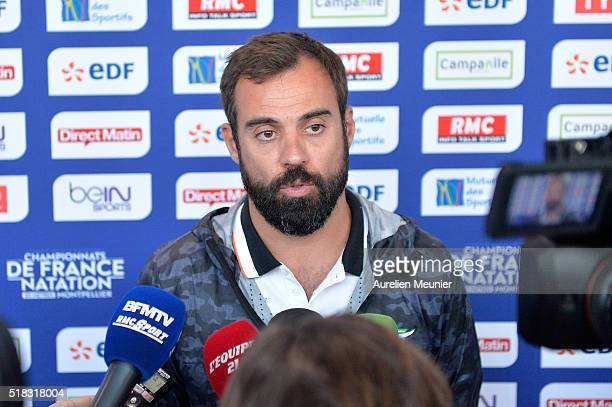 Romain Barnier French swimming national team Head Coach addresses the press on day three of the French National Swimming Championships on March 31...