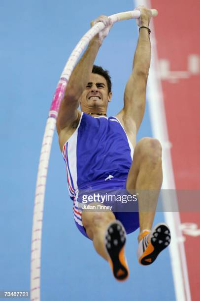 Romain Barras of France competes during the Pole Vault discipline in the Men's Heptathlon on day three of the 29th European Athletics Indoor...