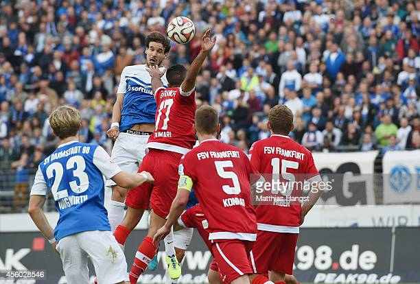 Romain Bregerie of Darmstadt scores his team's first goal during the Second Bundesliga match between SV Darmstadt 98 and FSV Frankfurt 1899 at...
