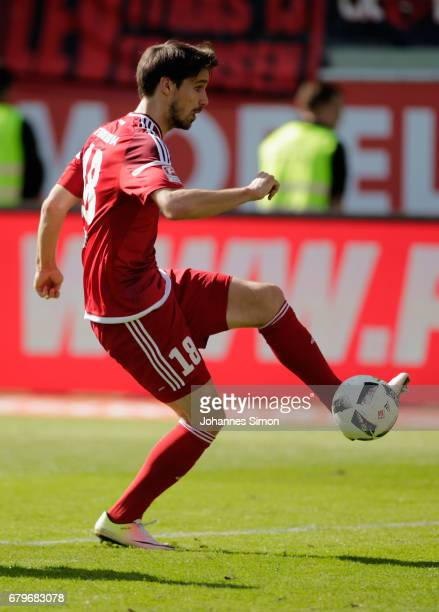 Romain Bregerie of Ingolstadt in action during the Bundesliga match between FC Ingolstadt 04 and Bayer 04 Leverkusen at Audi Sportpark on May 6 2017...