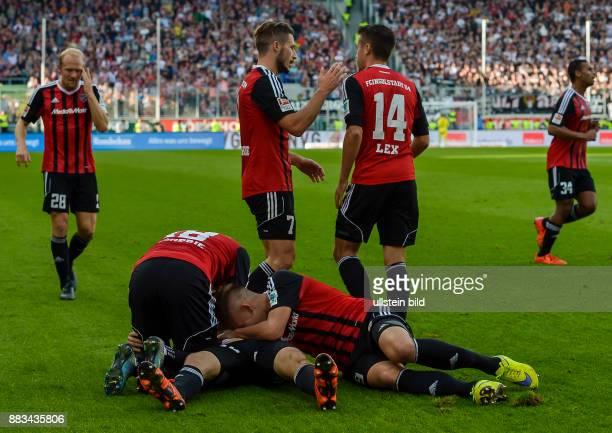 Romain Bregerie und Max Christiansen jubeln mit Torschuetzen Pascal Gross waehrend dem Fussball Bundesliga Spiel FC Ingolstadt gegen Eintracht...