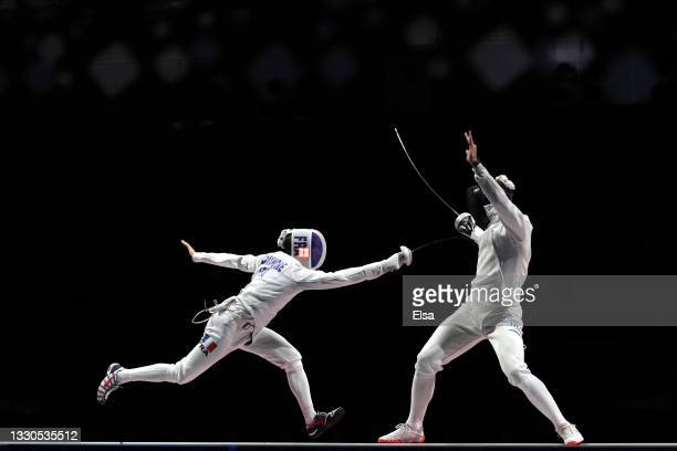Romain Cannone of Team France competes against Gergely Siklosi of Team Hungary in the Men's Épée Individual Fencing Gold Medal Bout on day two of the...