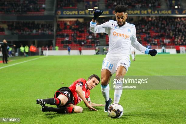 Romain Danze of Rennes and Jordan Amavi of Marseille during the french League Cup match Round of 16 between Rennes and Marseille on December 13 2017...