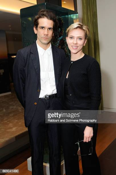 Romain Dauriac and Scarlett Johansson attend the Singular Object Art Opening Cocktail Reception at 53W53 Gallery on April 5 2017 in New York City