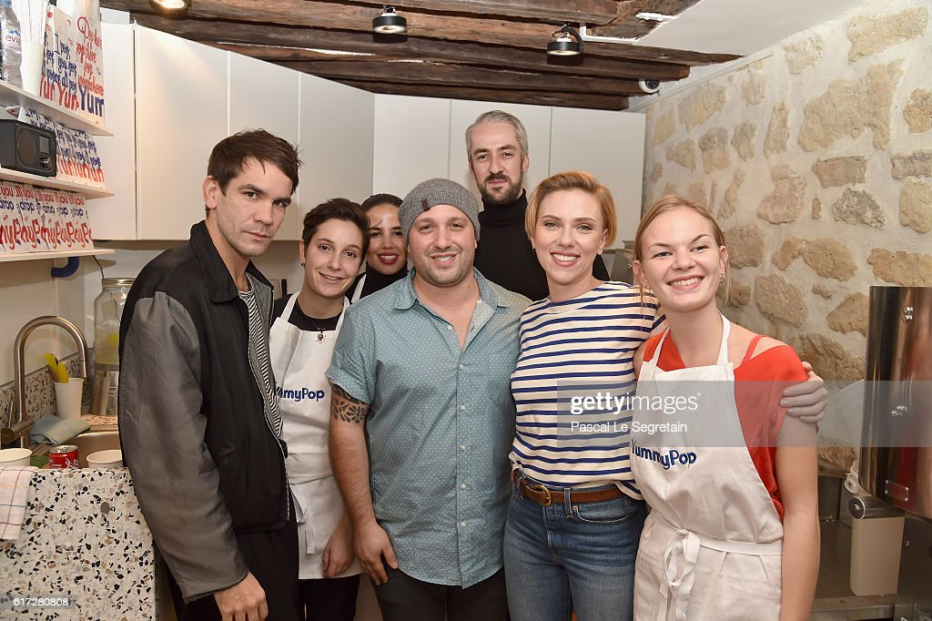 Romain Dauriac, Kaima Belmatoug, Sara Kamil, Will Horowitz, Dimitri Assiaridis, Scarlett Johansson and Victoria Chevalier attend the opening of the Yummy Pop shop where Scarlett Johansson opens the new store Yummy Pop in Le Marais, Paris on October 22, 2016 in Paris, France.