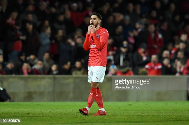 Romain Del Castillo of Nimes looks dejected during the Ligue 2 match between Nimes and Lens at Stade des Costieres on January 12 2018 in Nimes France