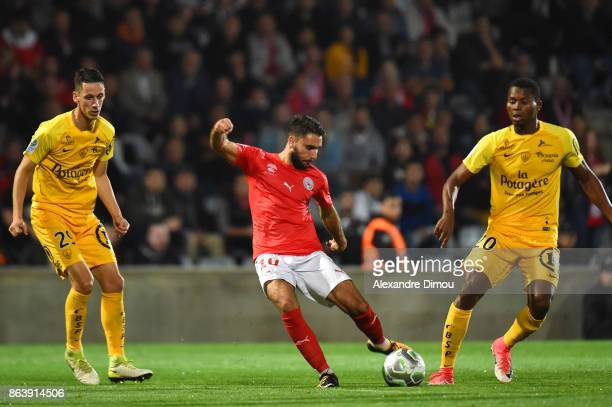 Romain Del Castillo of Nimes scores during the Ligue 2 match between Nimes Olympique and Brest on October 20 2017 in Nimes France