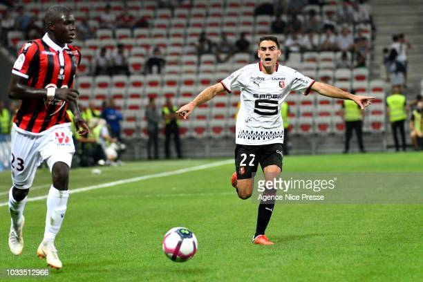 Romain Del Castillo of Rennes and Malang Sarr of Nice during the French Ligue 1 match between Nice and Rennes on September 14 2018 in Nice France