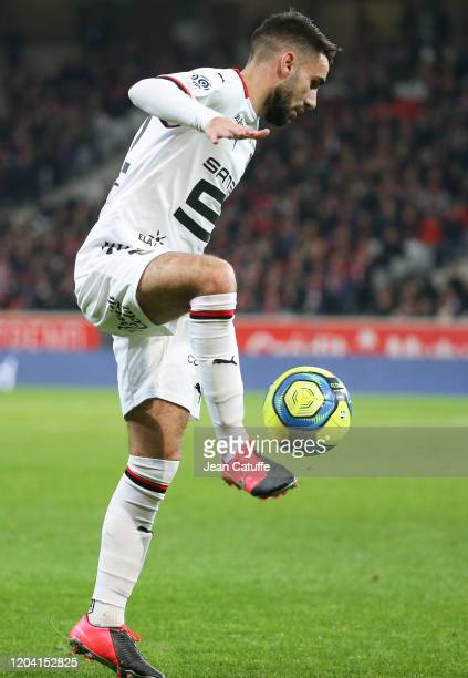 Romain Del Castillo of Stade Rennais during the Ligue 1 match between Lille OSC and Stade Rennais at Stade Pierre Mauroy on February 4, 2020 in...
