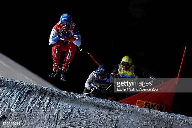 Romain Detraz of Switzerland takes 1st place during the FIS Freestyle Ski World Cup Men's and Women's Ski Cross on December 13, 2016 in Arosa,...