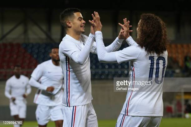 Romain Faivre of France U21 celebrates after scoring his team's second goal with teammates during the UEFA Euro Under 21 Qualifier match between...