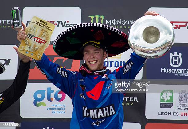 Romain Febvre of France and Yamaha Factory Racing Yamalube poses por pictures after winning during the Day 2 of the MX1 GP Leon 2015 at Parque...
