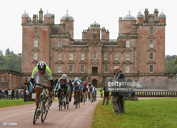 Romain Feillu of France and Agritubel leads a sprint on Stage Six of the Tour of Britain from Dumfries to Glasgow on September 15, 2007 in Glasgow,...