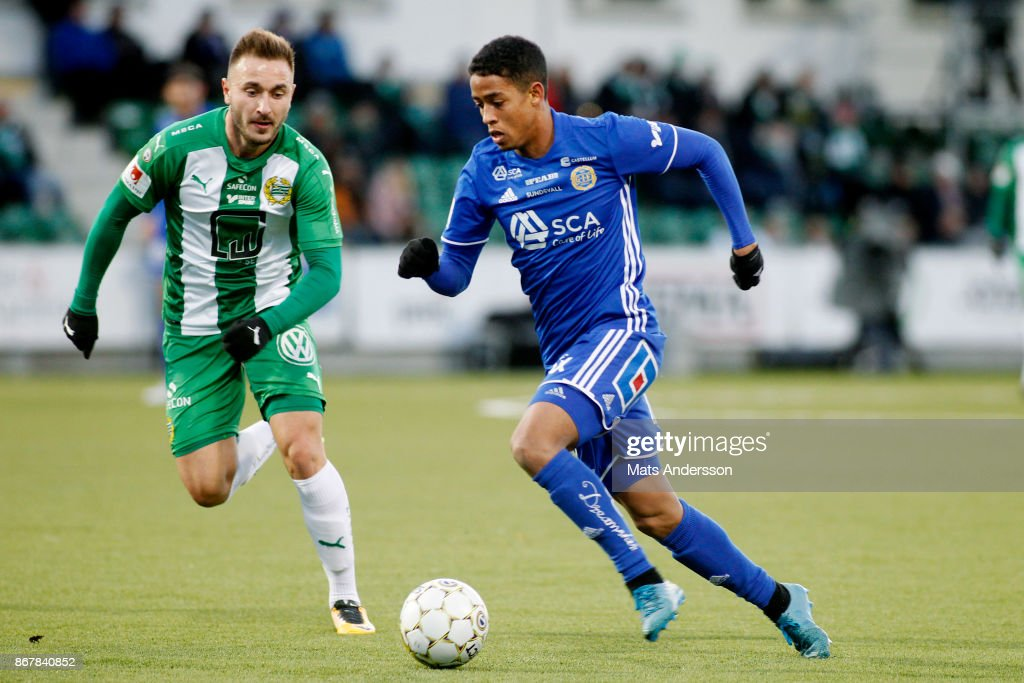 Romain Gall of GIF Sundsvall and Mats Solheim of Hammarby IF during the Allsvenskan match between GIF Sundsvall and Hammarby IF at Norrporten Arena on October 29, 2017 in Sundsvall, Sweden.