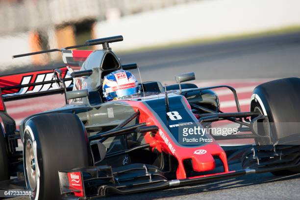 Romain Grosjean driver of the Haas F1 Team in action during the 4th day of the Formula 1 Test at the Circuit of Catalunya