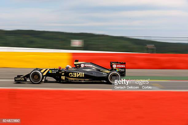 Romain Grosjean driving for the Lotus F1 Team in action during the race of the 2015 Formula 1 Shell Belgian Grand Prix at Circuit de...