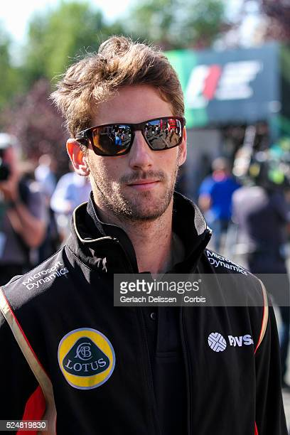 Romain Grosjean driving for the Lotus F1 Team in the paddock during the 2015 Formula 1 Shell Belgian Grand Prix at Circuit de Spa-Francorchamps in...