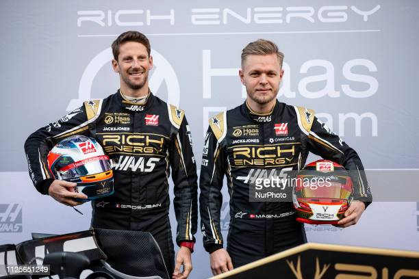 Romain Grosjean from France with 08 Rich Energy Haas F1 Team portrait and Kevin Magnussen from Denmark with 20 Rich Energy Haas F1 Team portrait...