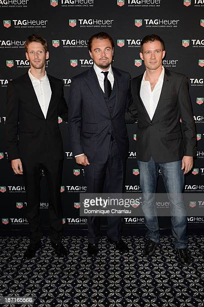 Romain Grosjean Leonardo DiCaprio and Sebastien Ogier attend the Opening of the TAG Heuer New Boutique Followed By An Evening Celebrating 50 years of...