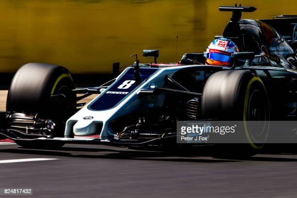 Romain Grosjean of France and Haas during qualifying for the Formula One Grand Prix of Hungary at Hungaroring on July 29 2017 in Budapest Hungary