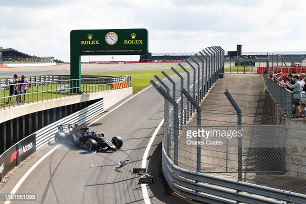 Romain Grosjean of France and Haas F1 crashes in the Pitlane during practice for the F1 Grand Prix of Great Britain at Silverstone on July 12, 2019...
