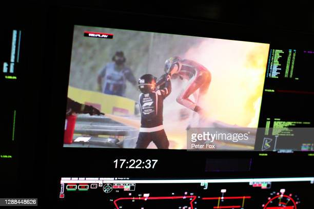 Romain Grosjean of France and Haas F1 is pictured on a screen escaping his crash during the F1 Grand Prix of Bahrain at Bahrain International Circuit...