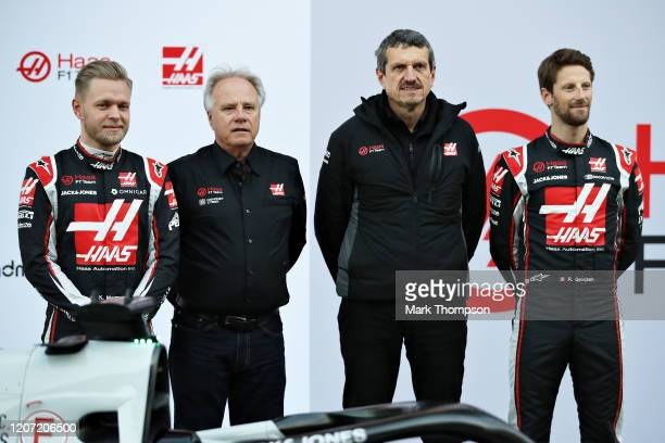 Romain Grosjean of France and Haas F1 , Kevin Magnussen of Denmark and Haas F1 , Haas F1 Founder and Chairman Gene Haas and Haas F1 Team Principal...