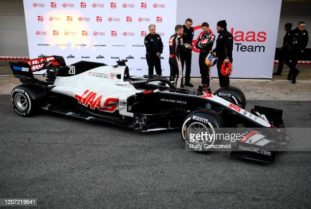 Romain Grosjean of France and Haas F1, Kevin Magnussen of Denmark and Haas F1, Haas F1 Founder and Chairman Gene Haas and Haas F1 Team Principal...