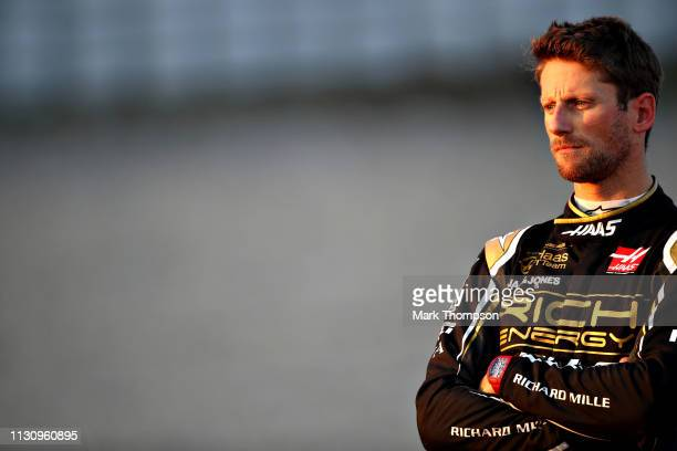 Romain Grosjean of France and Haas F1 looks on after stopping on track during day three of F1 Winter Testing at Circuit de Catalunya on February 20,...