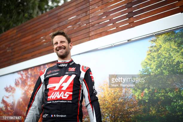 Romain Grosjean of France and Haas F1 looks on as he stands in the paddock during previews ahead of the F1 Grand Prix of Australia at Melbourne Grand...