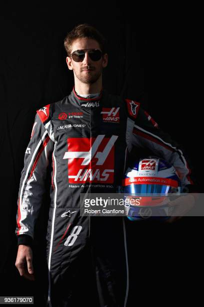 Romain Grosjean of France and Haas F1 poses for a photo during previews ahead of the Australian Formula One Grand Prix at Albert Park on March 22...