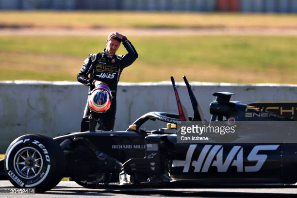 Romain Grosjean of France and Haas F1 reacts after stopping on track during day one of F1 Winter Testing at Circuit de Catalunya on February 18, 2019...