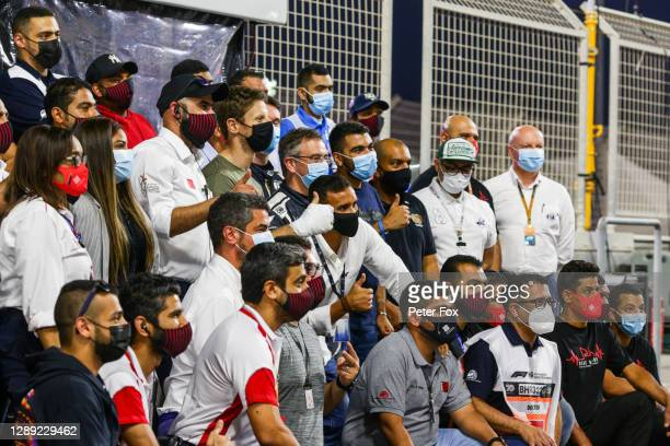 Romain Grosjean of France and Haas with marshals during previews ahead of the F1 Grand Prix of Sakhir at Bahrain International Circuit on December...