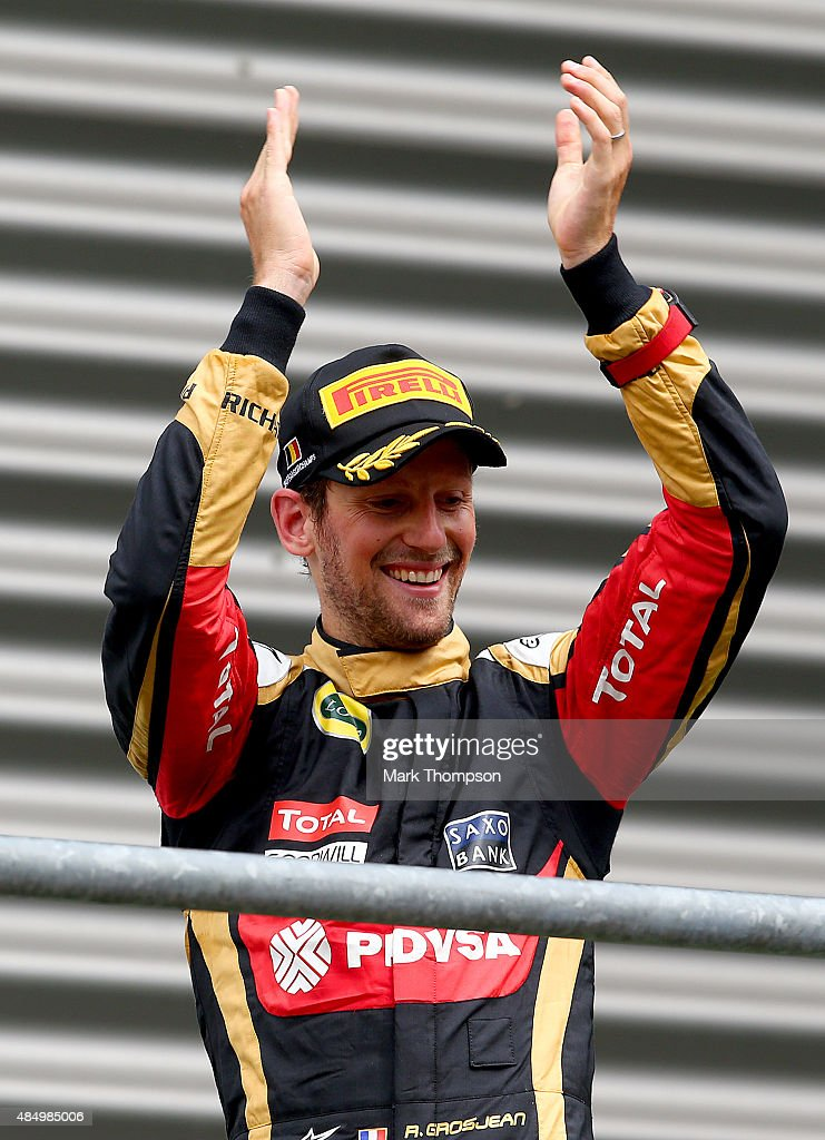 Romain Grosjean Of France And Lotus Celebrates On The Podium After News Photo Getty Images