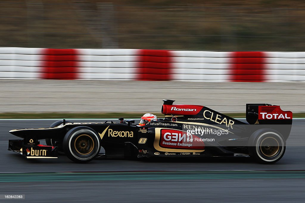 Romain Grosjean of France and Lotus drives during day one of Formula One winter test at the Circuit de Catalunya on February 28, 2013 in Montmelo, Spain.
