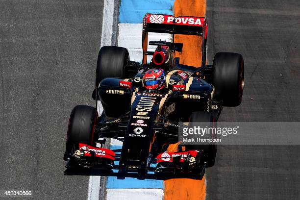 Romain Grosjean of France and Lotus drives during practice ahead of the German Grand Prix at Hockenheimring on July 18 2014 in Hockenheim Germany