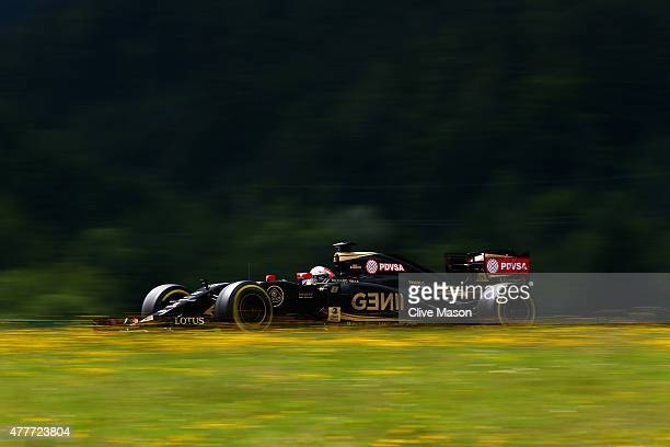 Romain Grosjean of France and Lotus drives during practice for the Formula One Grand Prix of Austria at Red Bull Ring on June 19 2015 in Spielberg...