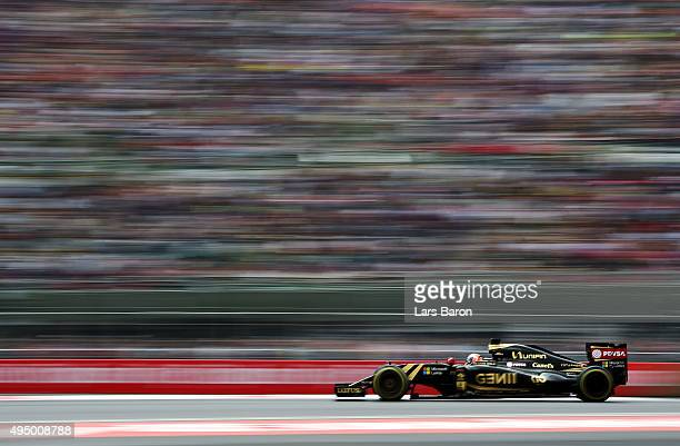 Romain Grosjean of France and Lotus drives during practice for the Formula One Grand Prix of Mexico at Autodromo Hermanos Rodriguez on October 30...