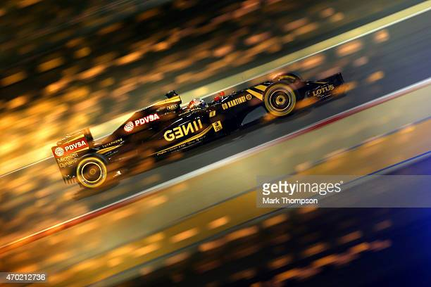 Romain Grosjean of France and Lotus drives during qualifying for the Bahrain Formula One Grand Prix at Bahrain International Circuit on April 18,...