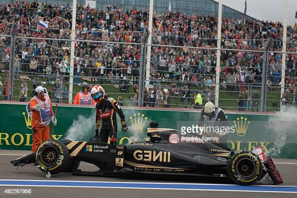 Romain Grosjean of France and Lotus during the Formula One Grand Prix of Russia at Sochi Autodrom in Sochi Russia on October 11 2015