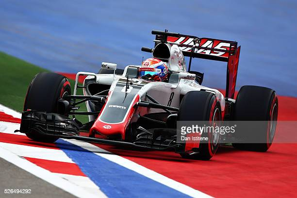 Romain Grosjean of France driving the Haas F1 Team Haas-Ferrari VF-16 Ferrari 059/5 turbo off the circuit during qualifying for the Formula One Grand...