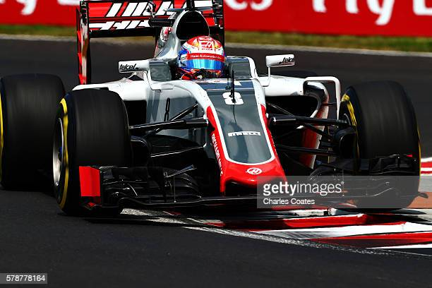Romain Grosjean of France driving the Haas F1 Team HaasFerrari VF16 Ferrari 059/5 turbo on track during practice for the Formula One Grand Prix of...
